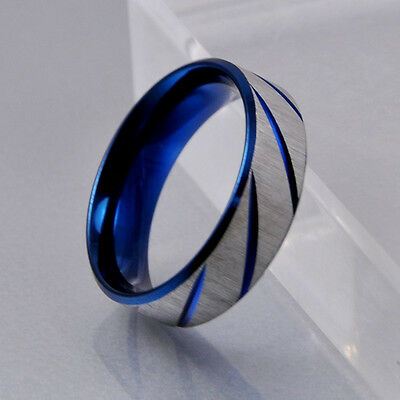 Men Blue Silver Brush Stainless Steel Traditional Wedding Band Ring 7mm Fashion