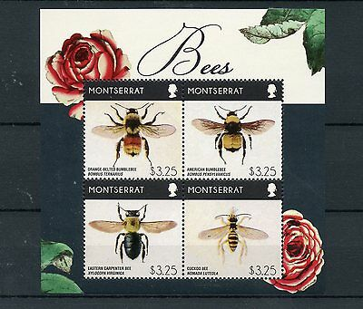 Montserrat 2015 MNH Bees 4v M/S Insects Bumblebee Carpenter Bee