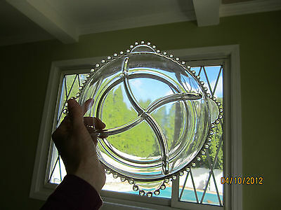 ANTIQUE CANDLEWICK GLASS CONDIMENT 4 SECTION Tray Plate DISH CIRCLE BALL HANDLES