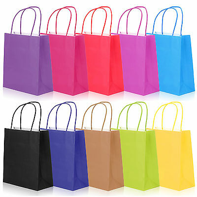 10x KRAFT PAPER LOOT BAGS+HANDLES PARTY WEDDING CHRISTMAS CANDY GIFT CARRIER BAG