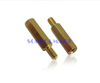 50Pcs M2.5x10 Copper Column Male Hexagon Stand-off Spacers 6mm Thread Length