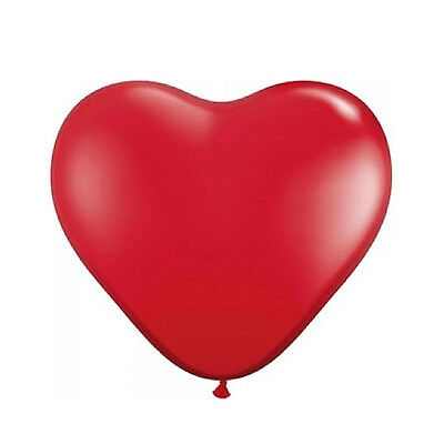 Pack of 10 Red 30cm Heart Shaped Latex Wedding / Valentines Balloons