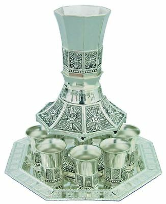 Shabbat Nickel Wine Kiddush Cup Fountain Goblet Serving Tray Judaica Kabbalah