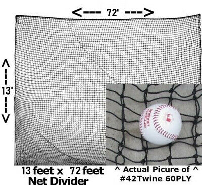 Batting Cage Net Divider Panel 12' x 70' #42 Twine 60 PLY for Baseball Softball