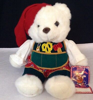 NEW Vtg 1995 Kmart Teddy Bear Christmas SANTA'S TOY SHOP Plush Stuffed White Elf