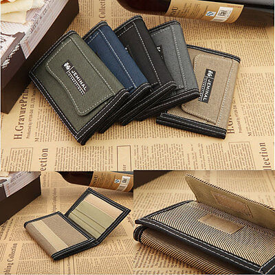 New Stylish Men's Canvas Wallet Pocket Card Money Holder Clutch Purse Wallet