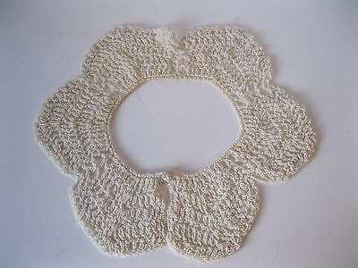 """Vintage  Hand Crochet Lace Dress/ Sweater  Collar 18"""" Neck Opening"""