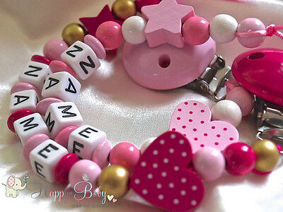 Personalised Wooden Dummy Clip/Chain Heart with Dots / Ideal Girl Gift