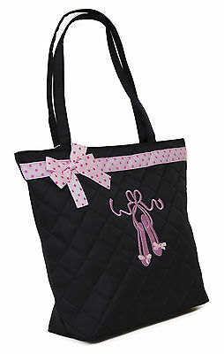 Girl's Black Quilted Toe Shoe Dance Tote Bag w/ Pink Polka Dot Ribbon New