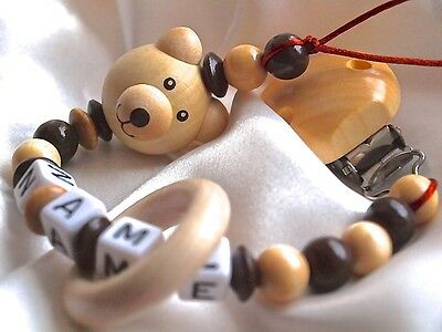 Personalised Wooden Dummy Clip/Chainr 3D Natural Teddy Bear & Teething Ring