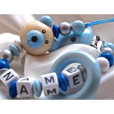 Personalised Wooden Dummy Clip/Chainr 3D Blue Teddy Bear & Teething ring
