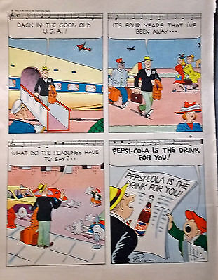 1947 PEPSI COLA Cartoon Ad Page, Musical, Life Magazine, Ready to Frame