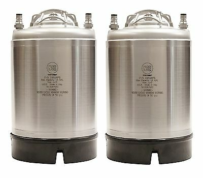 Homebrew Draft Beer Keg 2 Pack - 2.5 Gallon Ball Lock Kegs - With Relief Valve