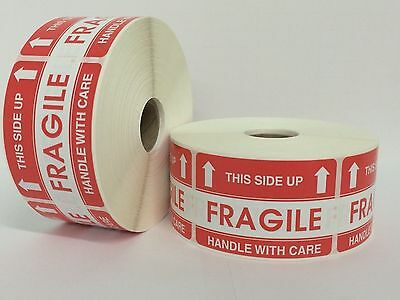 100 Labels 2x3 FRAGILE This Side up Shipping Mailing Handle with Care Stickers