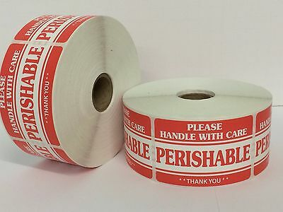 100 Labels of 2x3 PERISHABLE Handle With Care Shipping Mailing Stickers