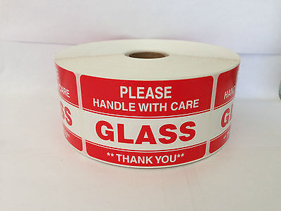 1000 Labels 2x3 Please GLASS Handle with Care Shipping Mailing Stickers