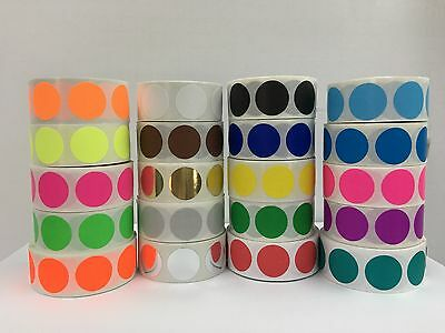 """20 Rolls 2"""" Round Color Coded Inventory Dot Sticker 500 Labels Each Color"""
