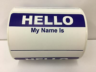 500 Labels 2-3/8x3-1/2 BLUE Hello My Name Is Name Tag Identification Stickers