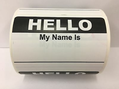 50 Labels BLACK Hello My Name Is Name Tag Identification Stickers