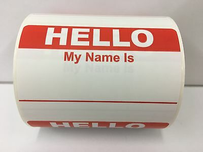50 Labels RED Hello My Name Is Name Tag Identification Stickers