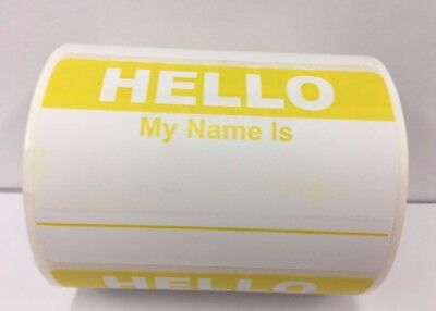 50 Labels YELLOW Hello My Name Is Name Tag Identification Stickers