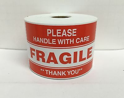 500 Large Labels 3x5 Please FRAGILE Handle With Care Shipping Mailing Stickers