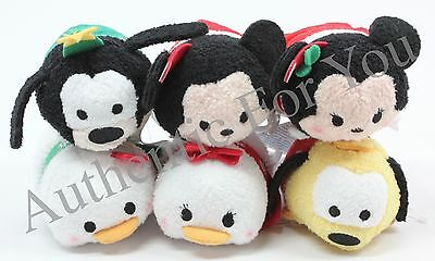 NEW US Disney CHRISTMAS Holiday SET 6 Mini Tsum Mickey Minnie Pluto Goofy Donald