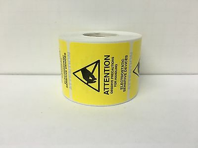 ESD 2x2 ATTENTION Electrostatic Sensitive Devices Anti Static Warning 500 Labels