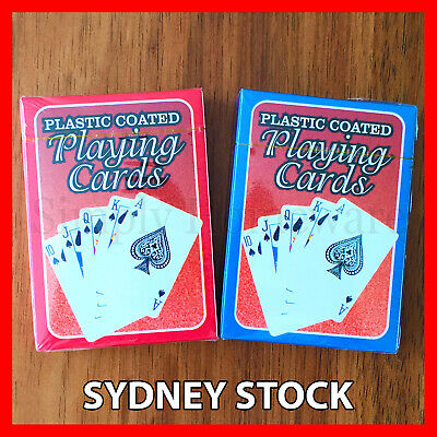 Playing Cards Decks Card Games Deck Blue & Red Box Deck of Plastic Coated Paper