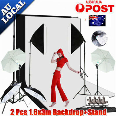 Photography Studio Soft Box Umbrella Softbox Lighting Light 3 Backdrop Stand Kit