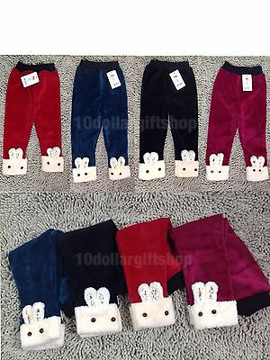 NEW Girls Toddlers Winter Warm Leggings Stretch Pants Thick Fleece Lined Cute