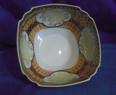 Vintage Nippon Square Footed Bowl Handpainted Checkered