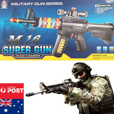 Toy Gun Weapon Battery Kids Rifle Children Boys Army Costume Cap Police Plastic