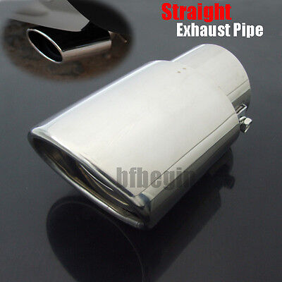 """2.5"""" Inlet Oval Car Chrome Exhaust Tip Tail Pipe Muffler Stainless Steel Durable"""