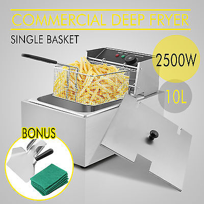 2500W 10L Commercial Deep Fryer Electric Single Basket Benchtop Stainless Steel