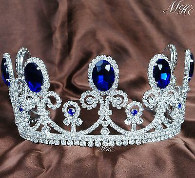 "Princess 3.5"" Tiara Headband Blue Crystal Bride Crown Wedding Pageant Party Prom"
