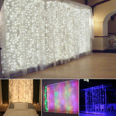 3-15M LED Giant Waterfall Curtain Home Party Fairy String Decor Lights Christmas