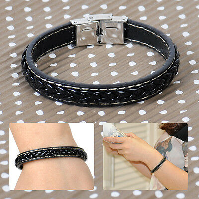 Men's Black Leather Wristband Braided Bracelet Stainless Steel Clasp Bangle