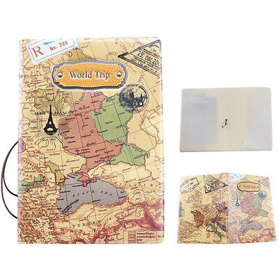 Faux Leather World Map Passport Cover Holder Sturdy Organizer Travel Card Case