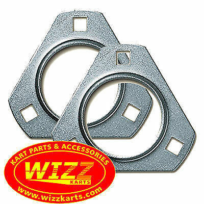 Pair of 30mm Triangular 3 Hole Bearing Carriers FREE POSTAGE WIZZ KARTS