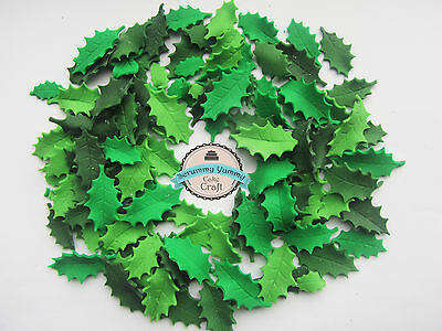 Christmas Holly leaves edible sugar decoration cake cupcake topper READY TO POST