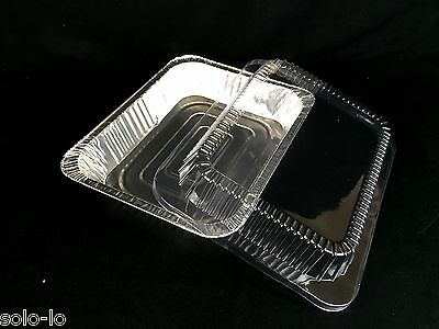 16 Foil 22 x 15.5cm Tray Roasting BBQ Baking Container With Clear PVC Lid New
