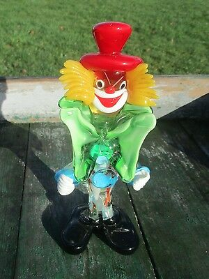 "Vintage Italian Murano Art Glass Clown Funky 8.66"" Red Hat Green Bow"