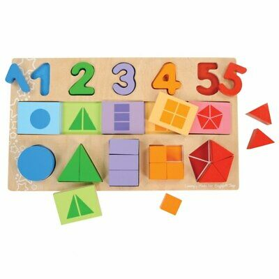 Bigjigs Toys My First Fraction Puzzle With Numbers, Shapes and Counting