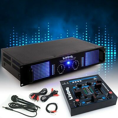 PA party extension system 3000W amplifier MP3 USB mixer microphone DJ-Add-on 5