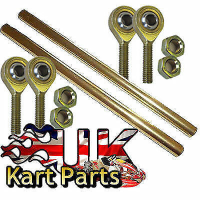 KART Pair of M8 x 255mm Gold Alloy Round Track Rods & Rod Ends & Lock Nuts