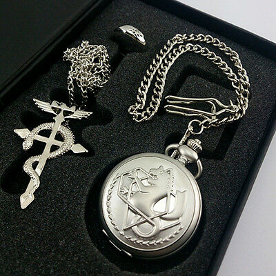 Cosplay Fullmetal Alchemist Edward Elric Pocket Watch Necklace Ring Set Gift Box