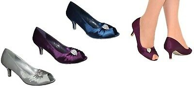 Ladies Silver Navy Purple Evening Wedding Party Low Heel Peep Toe Shoes Size