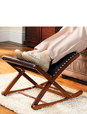 Rocking Footstool Solid Wood Adjustable Foot Rest
