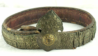 Amazing Silver & Gold Leather Ottoman Folk Belt Tile Buckle Antique Greek Balkan